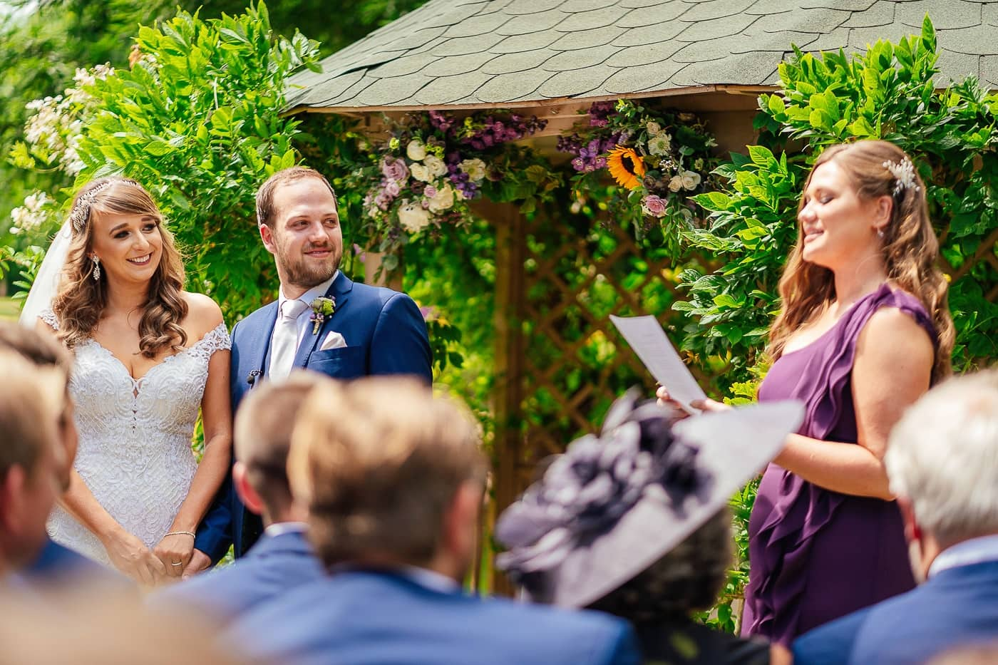 Speeches during the outdoor wedding at Maunsel House
