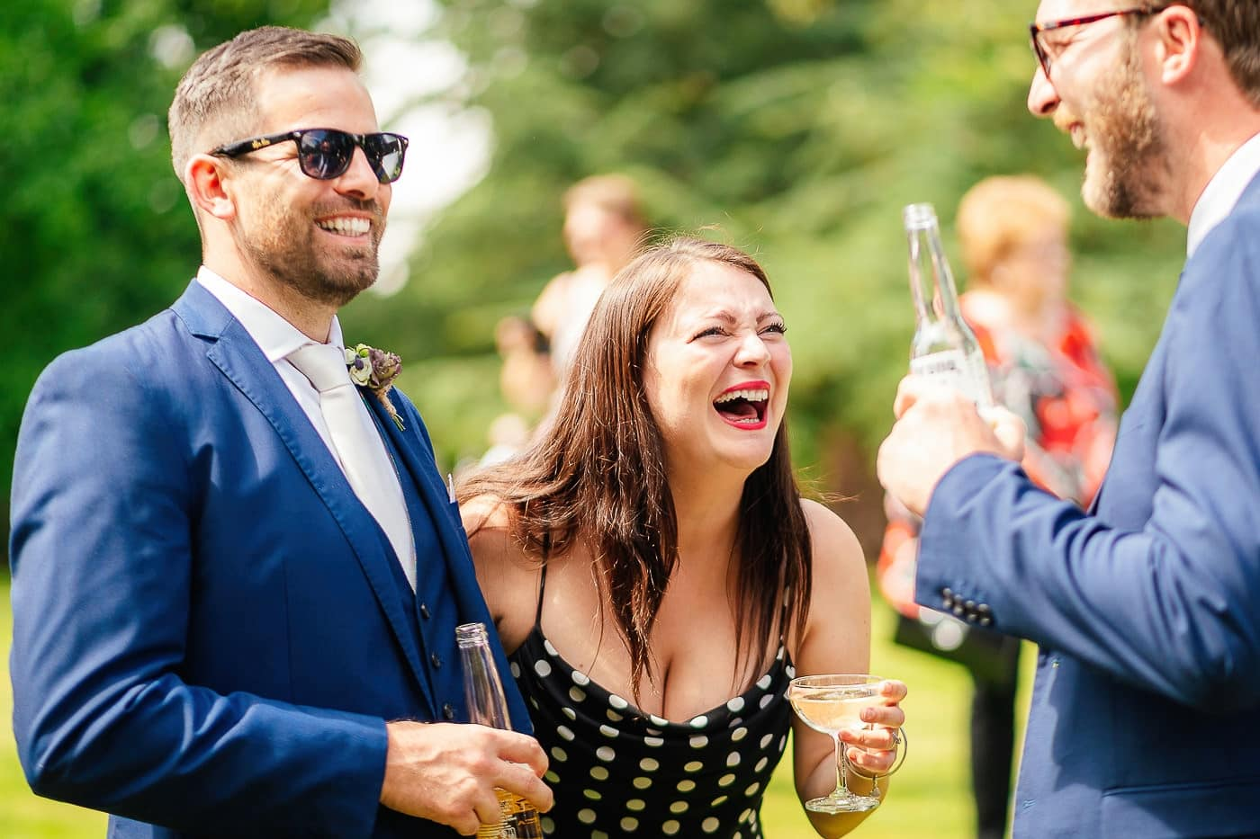 wedding guests laughing at Maunsel House