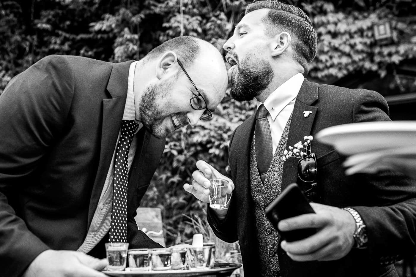 licking Tequila shots of the head, Maunsel House wedding photographer
